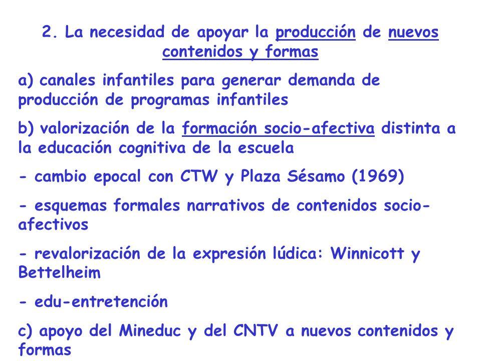 2. La necesidad de apoyar la producción de nuevos contenidos y formas a) canales infantiles para generar demanda de producción de programas infantiles