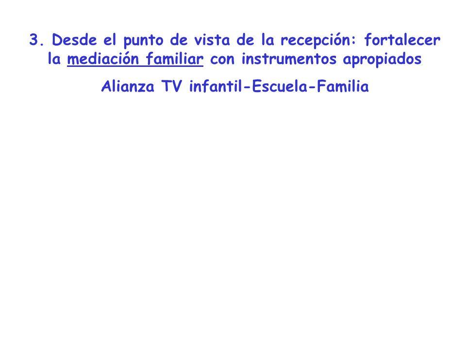 3. Desde el punto de vista de la recepción: fortalecer la mediación familiar con instrumentos apropiados Alianza TV infantil-Escuela-Familia