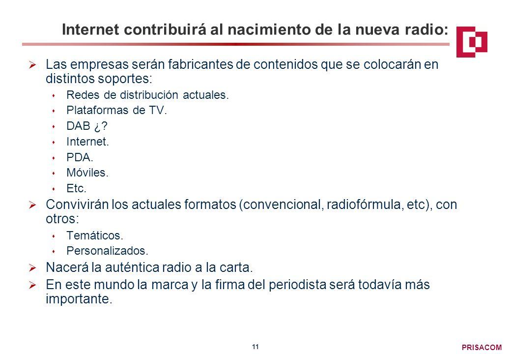 PRISACOM 11 Internet contribuirá al nacimiento de la nueva radio: Las empresas serán fabricantes de contenidos que se colocarán en distintos soportes: Redes de distribución actuales.