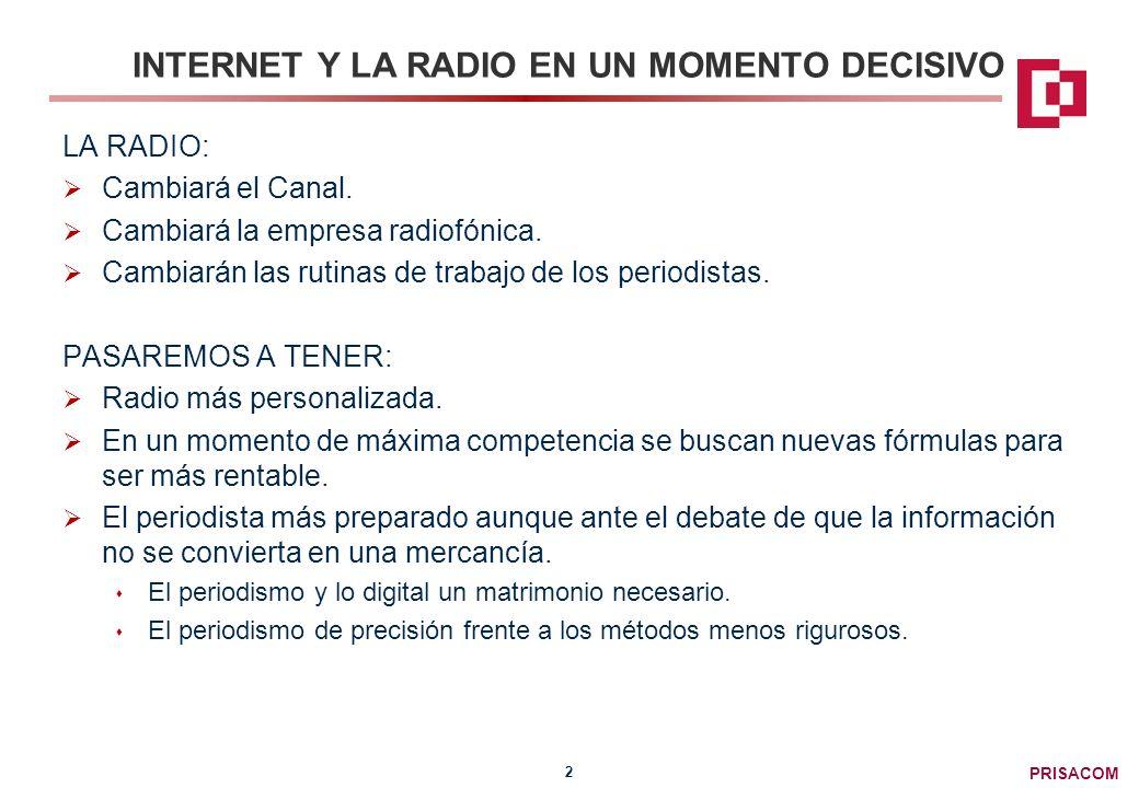 PRISACOM 3 INTERNET Y LA RADIO EN UN MOMENTO DECISIVO INTERNET: Mejorará el Canal.