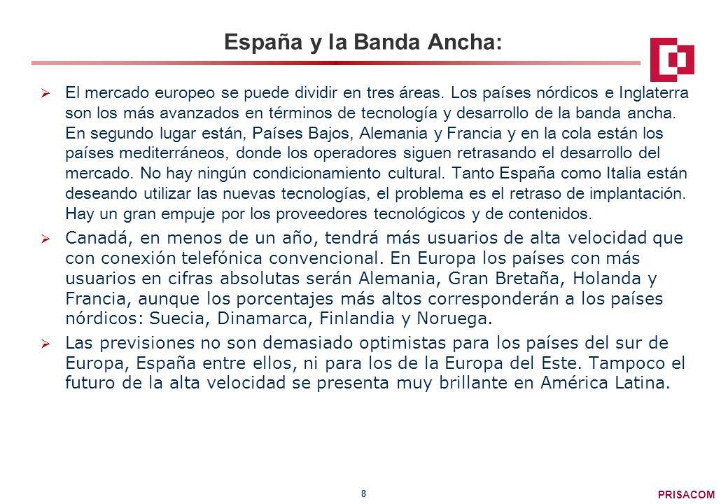 PRISACOM 8 España y la Banda Ancha: El mercado europeo se puede dividir en tres áreas.