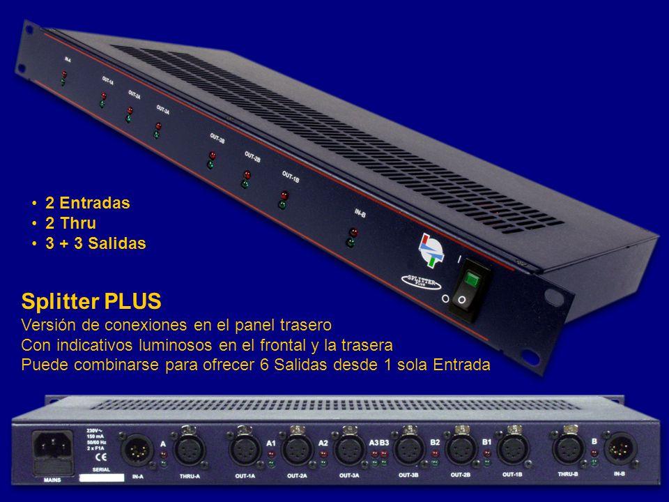 Splitter PLUS Versión de conexiones en el panel trasero Con indicativos luminosos en el frontal y la trasera Puede combinarse para ofrecer 6 Salidas d