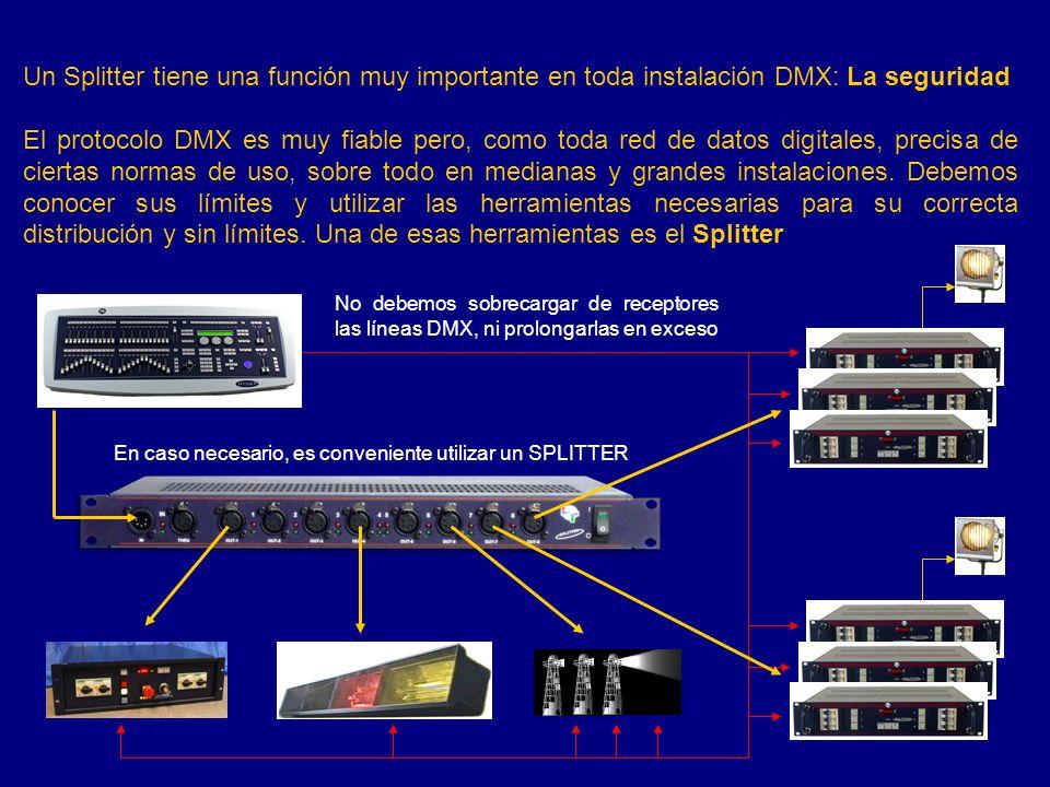 Límites de una línea DMX Número de receptores: 32 aislados opticamente.