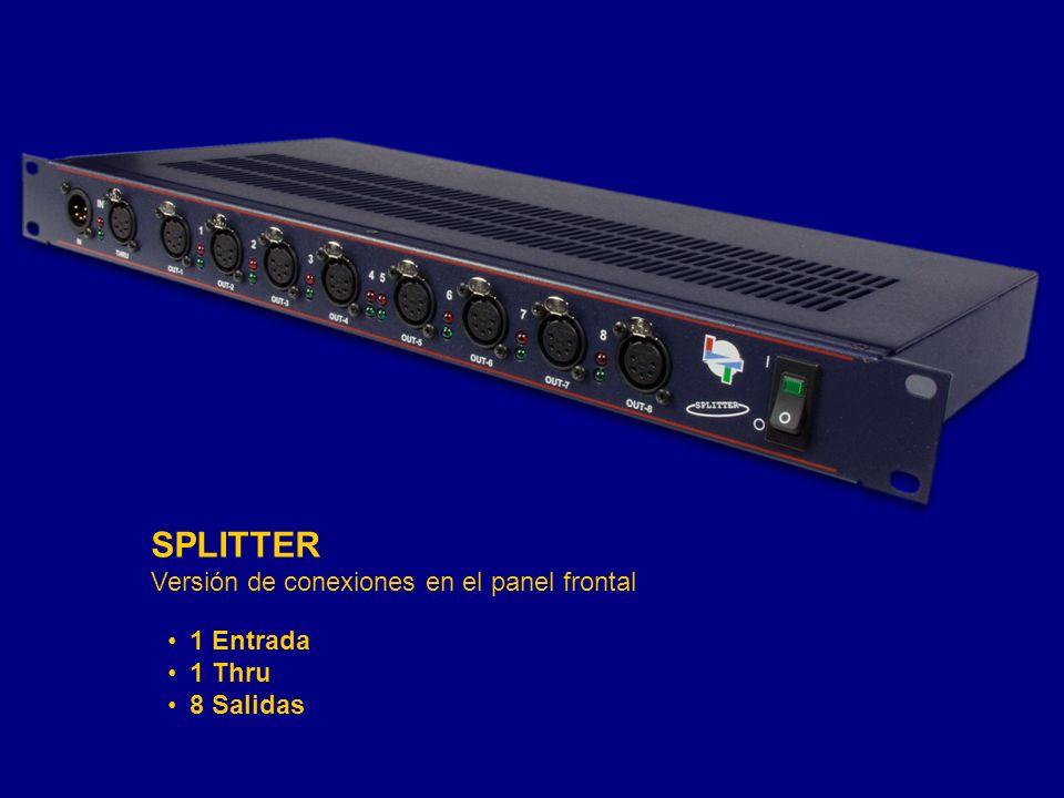 1 Entrada 1 Thru 8 Salidas SPLITTER Versión de conexiones en el panel frontal