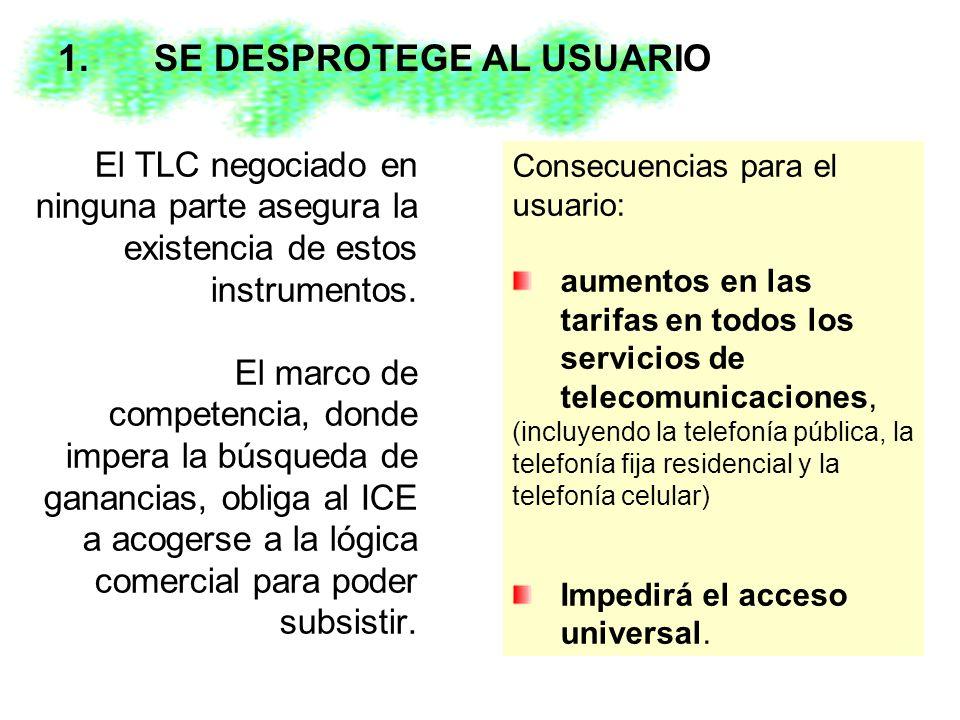 El TLC negociado en ninguna parte asegura la existencia de estos instrumentos.