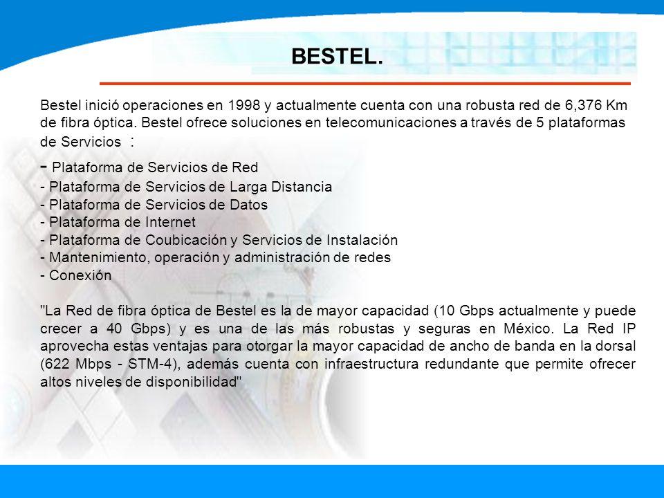 BESTEL. Bestel inició operaciones en 1998 y actualmente cuenta con una robusta red de 6,376 Km de fibra óptica. Bestel ofrece soluciones en telecomuni