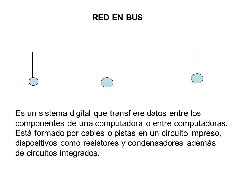 RED EN BUS Es un sistema digital que transfiere datos entre los componentes de una computadora o entre computadoras. Está formado por cables o pistas