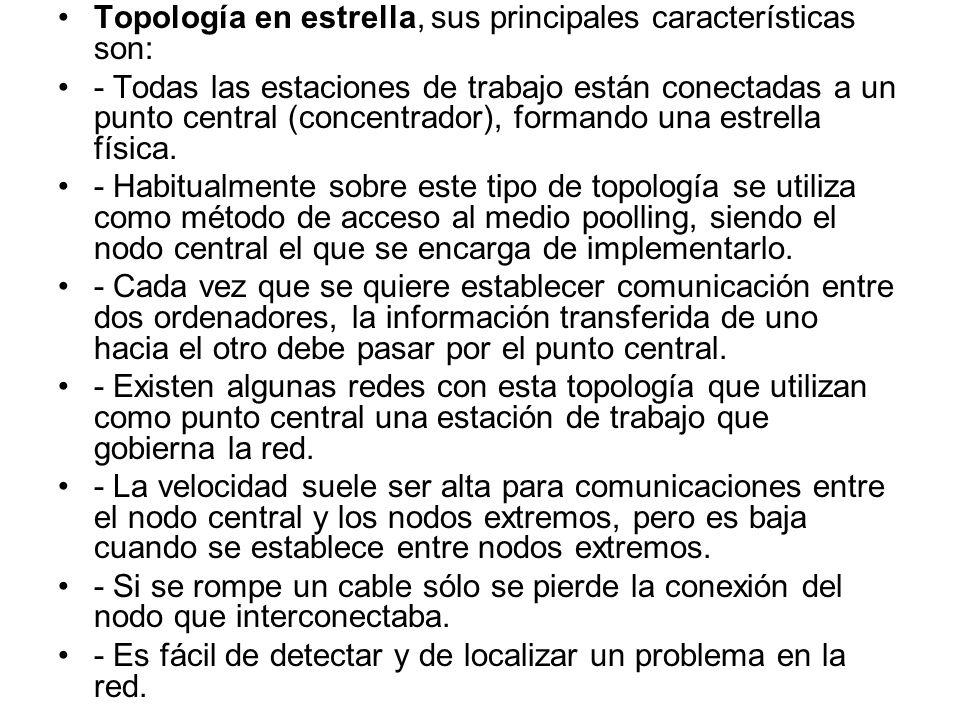 Topología en estrella, sus principales características son: - Todas las estaciones de trabajo están conectadas a un punto central (concentrador), form
