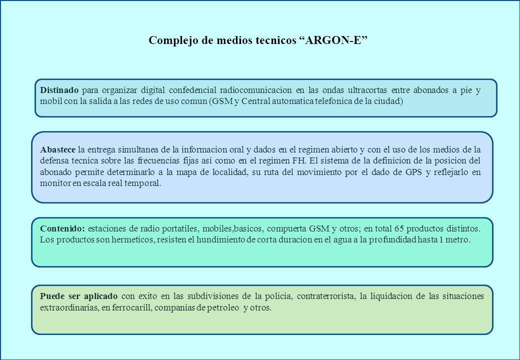 CARACTERÍSTICAS FUNCIONALES DE LOS MEDIOS RADIO ARGON-E Descripción ARGON-E Control corriente de la gama de frecuencias+ Localización+ Acceso a las bases de datos y a la red Internet+ Buscapersonas en voz+ Acoplamiento con el equipo de transmision de datos+ Duplex temporal+ Retransmisión con la división temporal en CFF * y FH**+ Comunicaciones multicanales+ Comunicación prioritaria+ Enmascarador digital+ FH+ Acceso a las redes telefónicas de uso común y GSM+ Control remoto+ Retransmisión con el espaciamiento entre frecuencias+ Llamada por dirección+ Simplex a dos frecuencias+ Introducción y clonación de los radiodatos+ Recepción con el escaneamiento+ Teléfono FM+ * CFF :canal de frecuencia fija ** FH: saltos de frecuencias