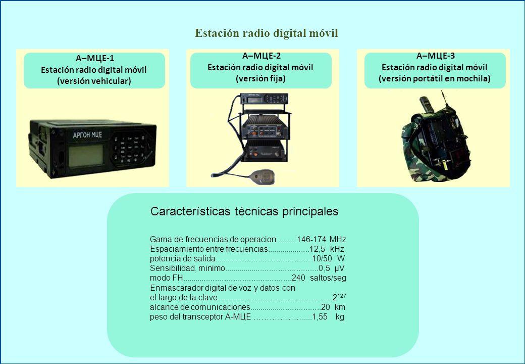 А – РЦЕ А – GSMЕ Repetidor digital móvil compuerta GSM Gama de frecuencias de operacion......................146-174 MHz Espaciamiento entre frecuencias …………………….…12,5 kHz potencia de salida..........................................................10/50 W sensibilidad, minimo........................................................0,5 μV modo FH...............................................................240 saltos/seg enmascarador digital de voz y datos con el largo de la clave.........................................................2127 zona de cobertura del repetidor.........................hasta 40-50 km peso del repetidor..............................................................7,2 kg Gama de frecuencias de operacion, OUC..............................146-174 MHz GSM.................................900-1800 MHz Espaciamiento entre frecuencias......................................................12,5 kHz potencia de salida OUC.................................................................10/50 W GSM.......................................................................2 W sensibilidad, minimo..........................………………................................0,5 μV modo FH....................................................................................240 saltos /seg enmascarador digital de voz y datos con el largo de la clave................................................................................2 127 zona de cobertura ………….................................................hasta 30-50 km peso de la contrapuerta GSM.....................................................................5 kg Características técnicas principales