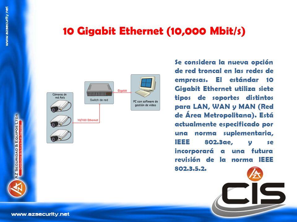 10 Gigabit Ethernet (10,000 Mbit/s) Se considera la nueva opción de red troncal en las redes de empresas. El estándar 10 Gigabit Ethernet utiliza siet