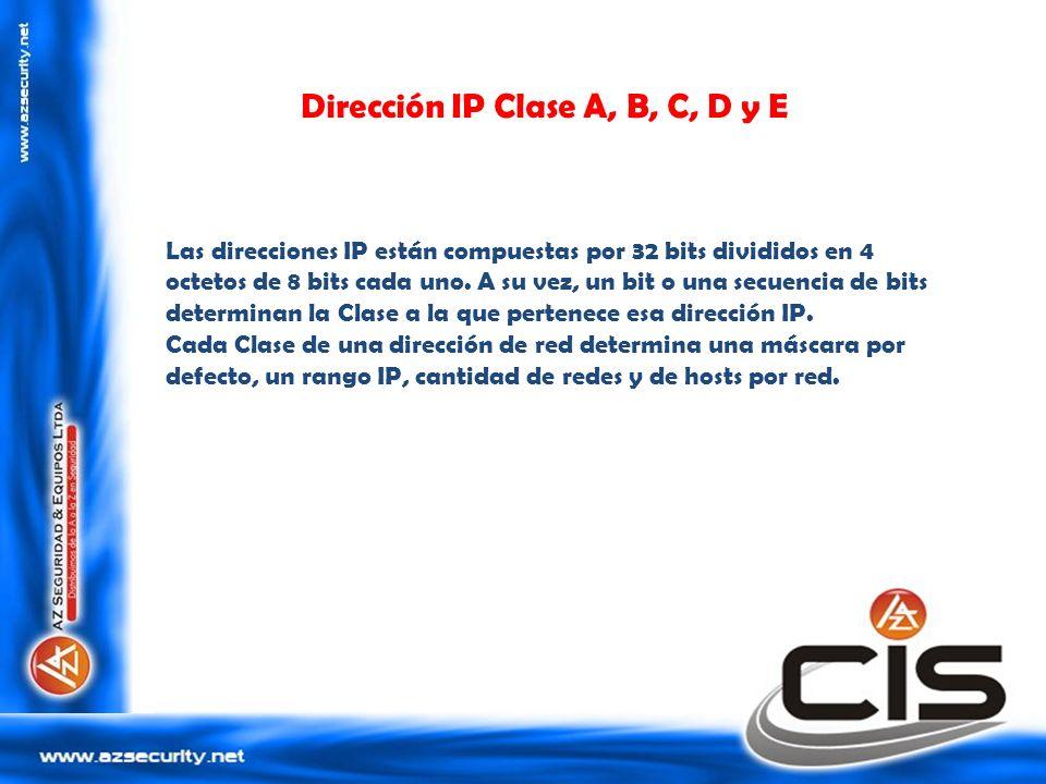 Dirección IP Clase A, B, C, D y E Las direcciones IP están compuestas por 32 bits divididos en 4 octetos de 8 bits cada uno. A su vez, un bit o una se