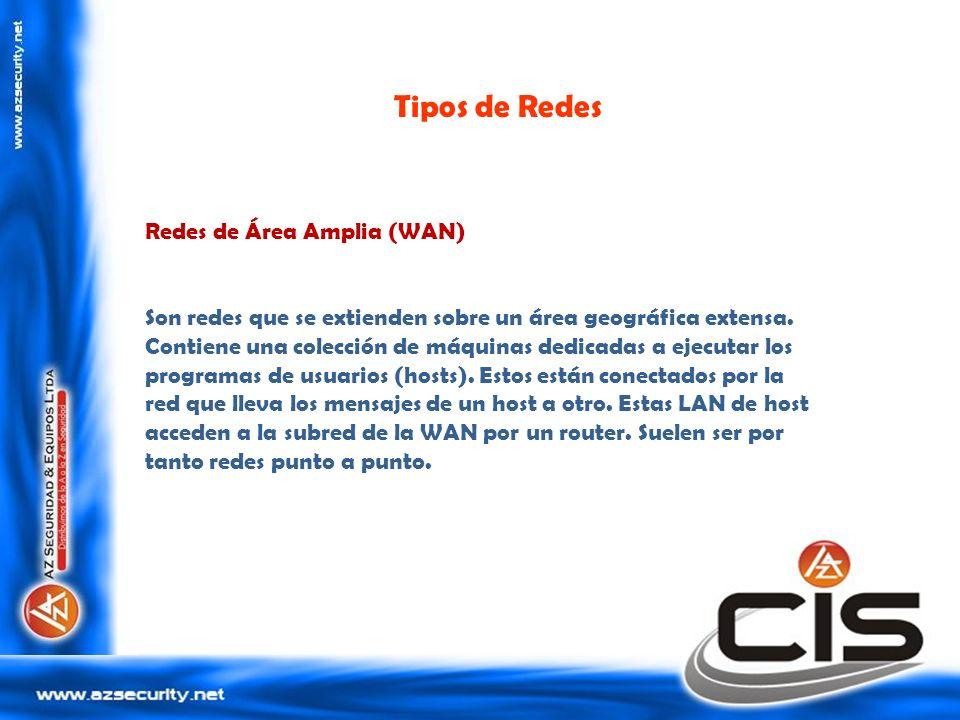 Tipos de Redes Redes de Área Amplia (WAN) Son redes que se extienden sobre un área geográfica extensa. Contiene una colección de máquinas dedicadas a