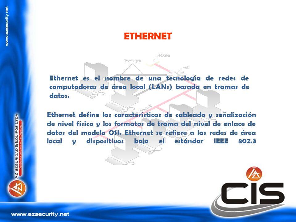 ETHERNET Ethernet define las características de cableado y señalización de nivel físico y los formatos de trama del nivel de enlace de datos del model