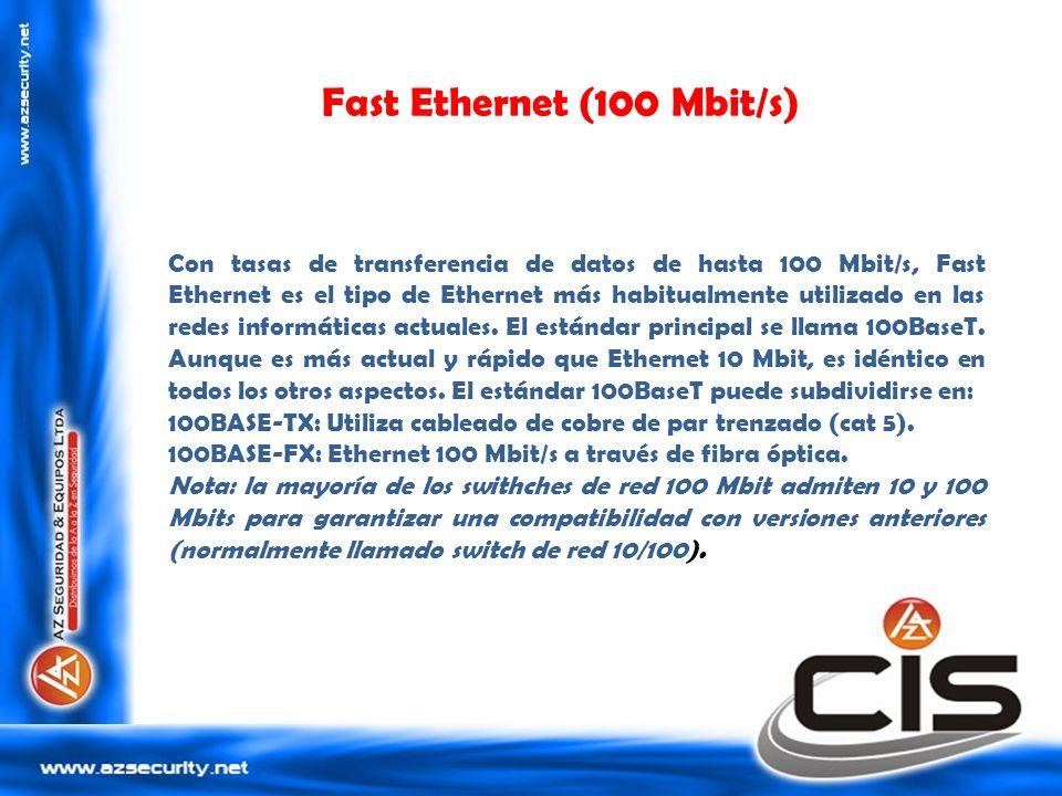 Gigabit Ethernet (1000 Mbit/s) Este es el estándar actual recomendado por los distribuidores de equipos de redes para los ordenadores de sobremesa.