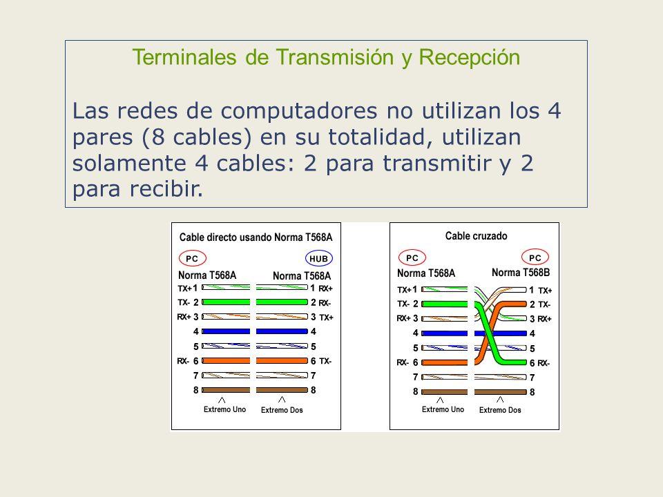 Terminales de Transmisión y Recepción Las redes de computadores no utilizan los 4 pares (8 cables) en su totalidad, utilizan solamente 4 cables: 2 para transmitir y 2 para recibir.