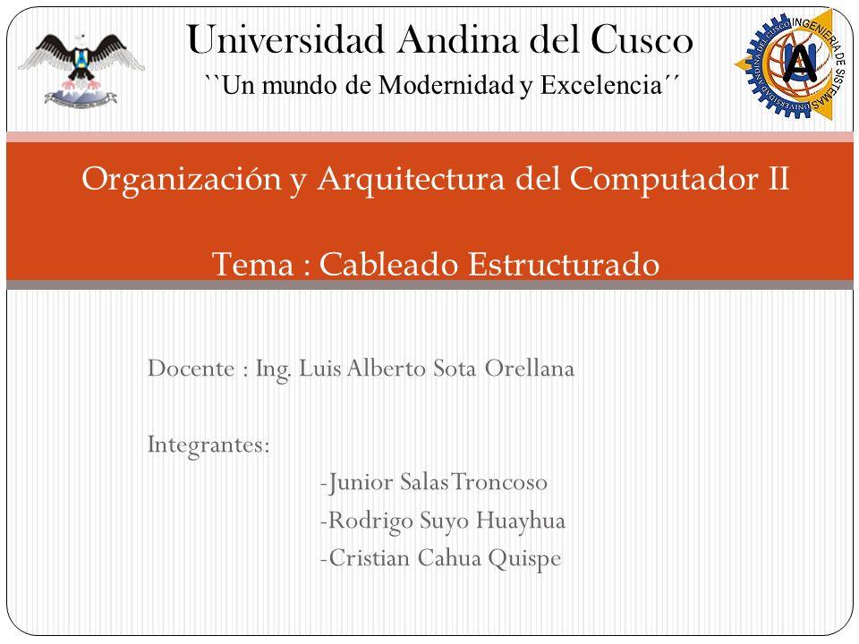 Docente : Ing. Luis Alberto Sota Orellana Integrantes: -Junior Salas Troncoso -Rodrigo Suyo Huayhua -Cristian Cahua Quispe Organización y Arquitectura