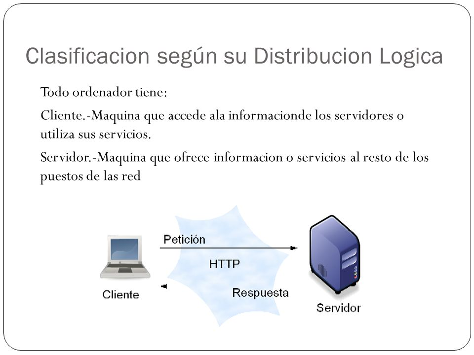 Clasificacion según su Distribucion Logica Todo ordenador tiene: Cliente.-Maquina que accede ala informacionde los servidores o utiliza sus servicios.