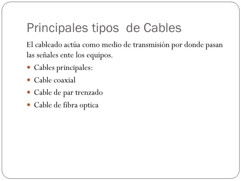Principales tipos de Cables El cableado actúa como medio de transmisión por donde pasan las señales ente los equipos. Cables principales: Cable coaxia