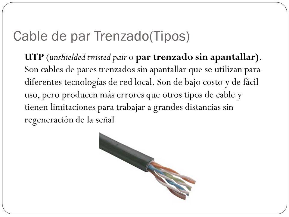 Cable de par Trenzado(Tipos) UTP (unshielded twisted pair o par trenzado sin apantallar). Son cables de pares trenzados sin apantallar que se utilizan