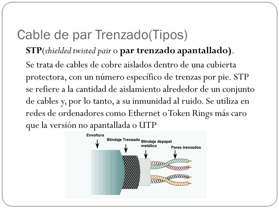 Cable de par Trenzado(Tipos) STP(shielded twisted pair o par trenzado apantallado). Se trata de cables de cobre aislados dentro de una cubierta protec