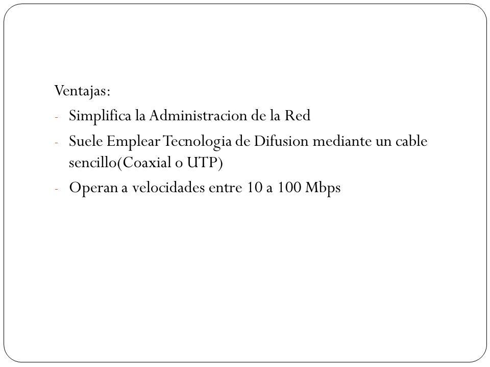 Ventajas: - Simplifica la Administracion de la Red - Suele Emplear Tecnologia de Difusion mediante un cable sencillo(Coaxial o UTP) - Operan a velocidades entre 10 a 100 Mbps