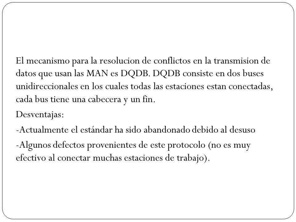 El mecanismo para la resolucion de conflictos en la transmision de datos que usan las MAN es DQDB. DQDB consiste en dos buses unidireccionales en los