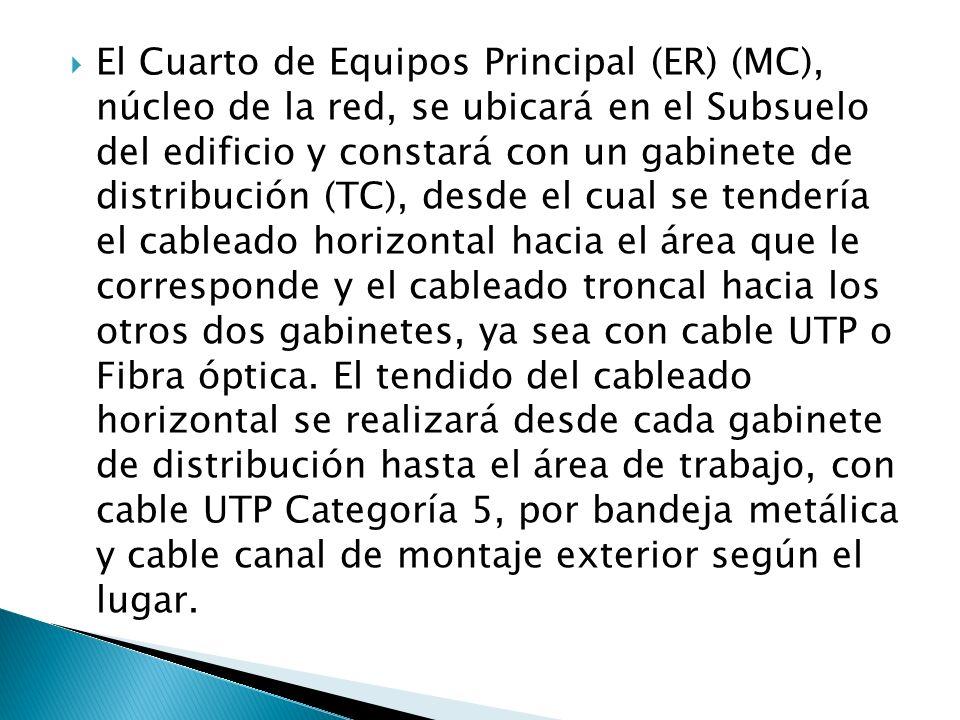 El Cuarto de Equipos Principal (ER) (MC), núcleo de la red, se ubicará en el Subsuelo del edificio y constará con un gabinete de distribución (TC), de