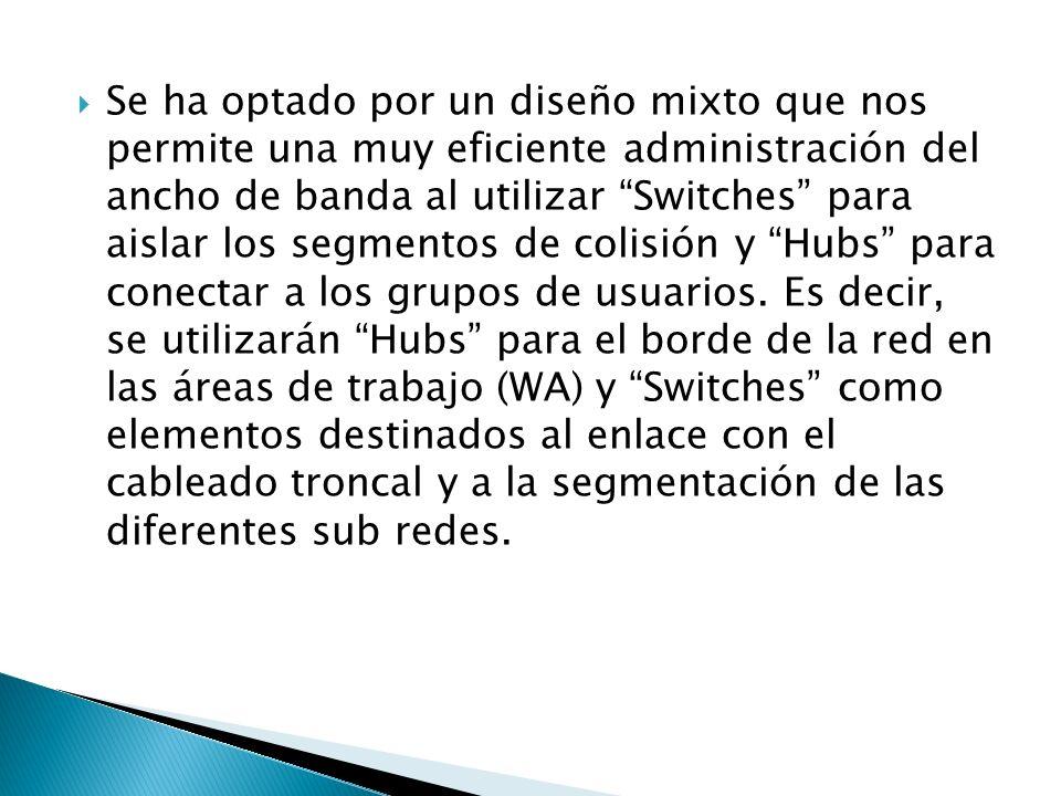Se ha optado por un diseño mixto que nos permite una muy eficiente administración del ancho de banda al utilizar Switches para aislar los segmentos de