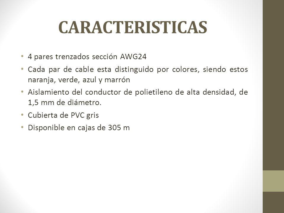 CARACTERISTICAS 4 pares trenzados sección AWG24 Cada par de cable esta distinguido por colores, siendo estos naranja, verde, azul y marrón Aislamiento