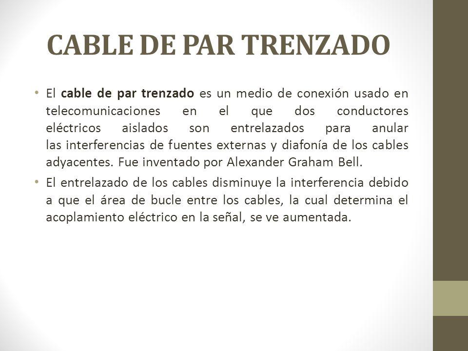 CABLE DE PAR TRENZADO El cable de par trenzado es un medio de conexión usado en telecomunicaciones en el que dos conductores eléctricos aislados son e