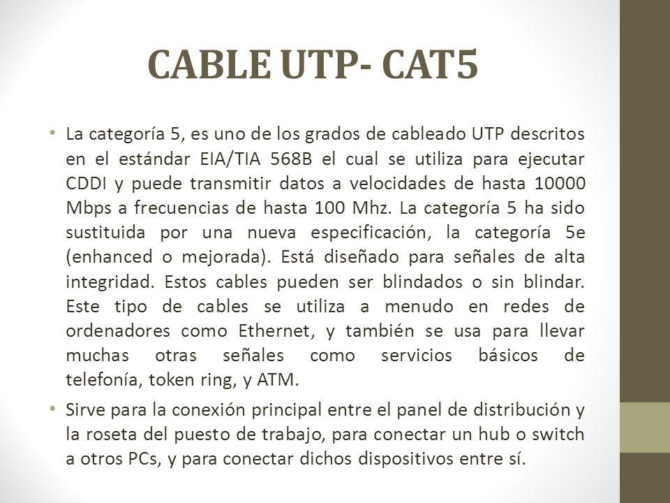 CABLE UTP- CAT5 La categoría 5, es uno de los grados de cableado UTP descritos en el estándar EIA/TIA 568B el cual se utiliza para ejecutar CDDI y pue