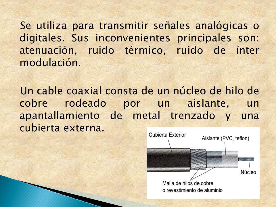 Se utiliza para transmitir señales analógicas o digitales. Sus inconvenientes principales son: atenuación, ruido térmico, ruido de ínter modulación. U