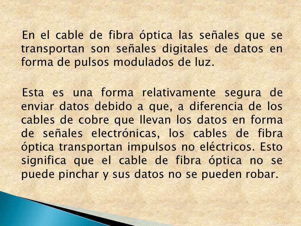 En el cable de fibra óptica las señales que se transportan son señales digitales de datos en forma de pulsos modulados de luz. Esta es una forma relat