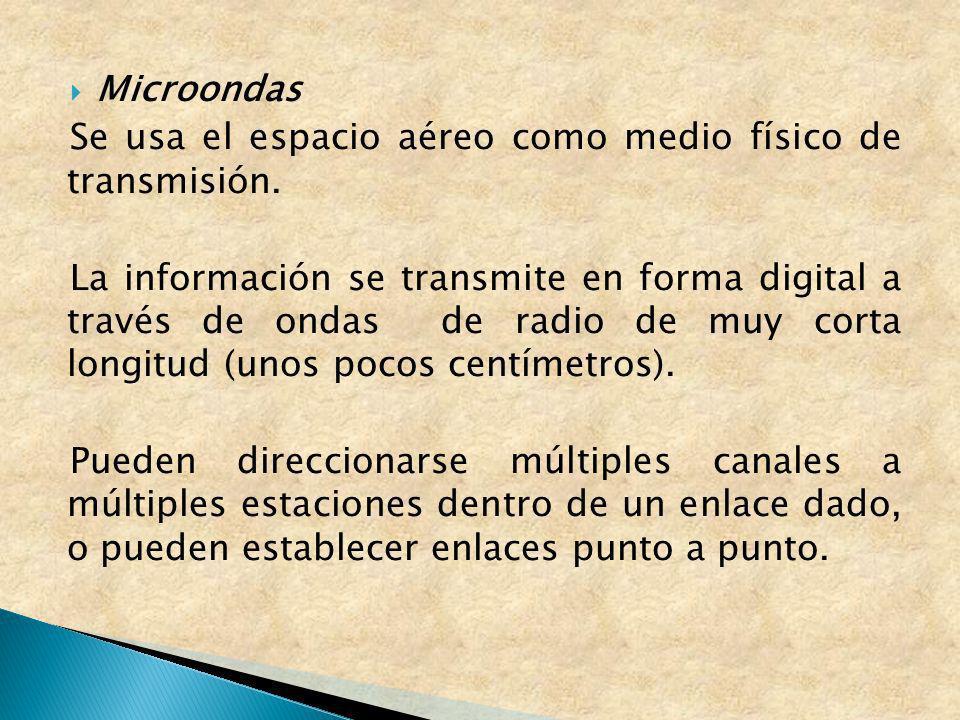 Microondas Se usa el espacio aéreo como medio físico de transmisión. La información se transmite en forma digital a través de ondas de radio de muy co