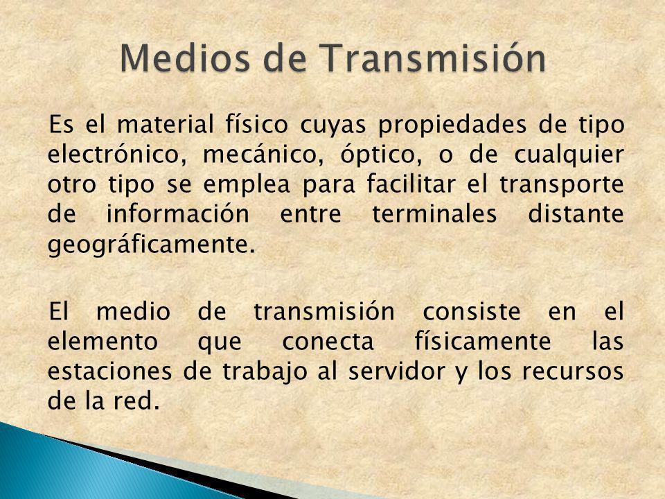 Es el material físico cuyas propiedades de tipo electrónico, mecánico, óptico, o de cualquier otro tipo se emplea para facilitar el transporte de info