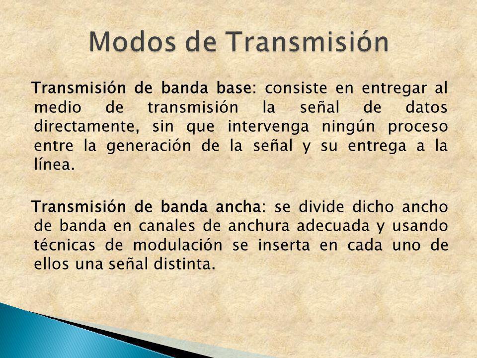 Transmisión de banda base: consiste en entregar al medio de transmisión la señal de datos directamente, sin que intervenga ningún proceso entre la gen