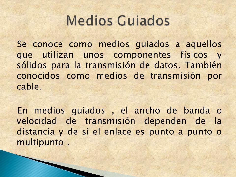 Se conoce como medios guiados a aquellos que utilizan unos componentes físicos y sólidos para la transmisión de datos. También conocidos como medios d