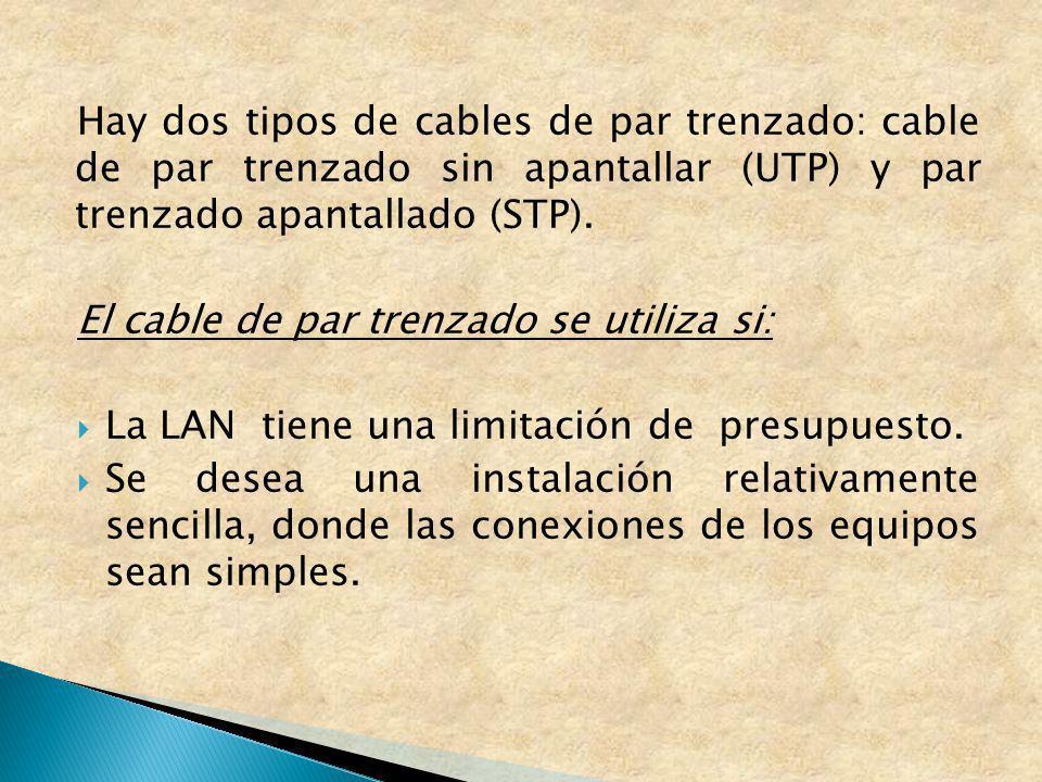 Hay dos tipos de cables de par trenzado: cable de par trenzado sin apantallar (UTP) y par trenzado apantallado (STP). El cable de par trenzado se util