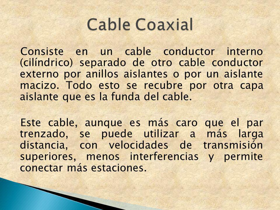 Consiste en un cable conductor interno (cilíndrico) separado de otro cable conductor externo por anillos aislantes o por un aislante macizo. Todo esto