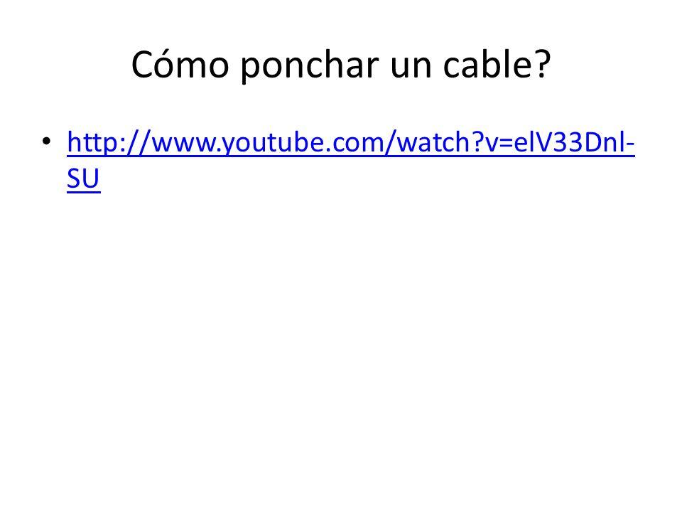 Cómo ponchar un cable? http://www.youtube.com/watch?v=elV33Dnl- SU http://www.youtube.com/watch?v=elV33Dnl- SU