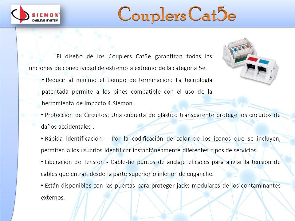El diseño de los Couplers Cat5e garantizan todas las funciones de conectividad de extremo a extremo de la categoría 5e.