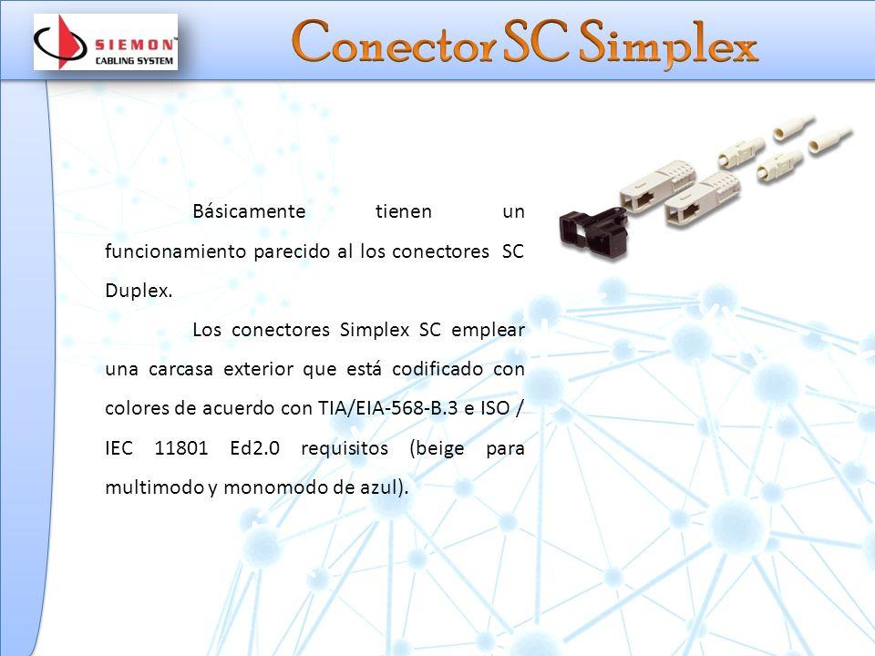 Básicamente tienen un funcionamiento parecido al los conectores SC Duplex.