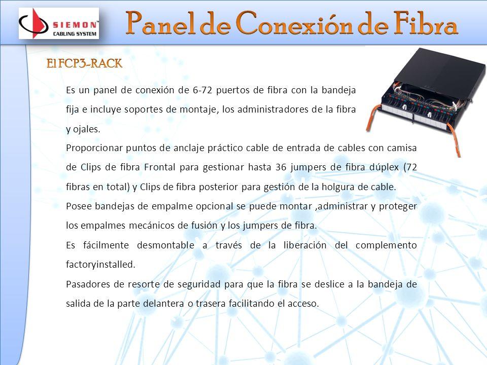 Es un panel de conexión de 6-72 puertos de fibra con la bandeja fija e incluye soportes de montaje, los administradores de la fibra y ojales.