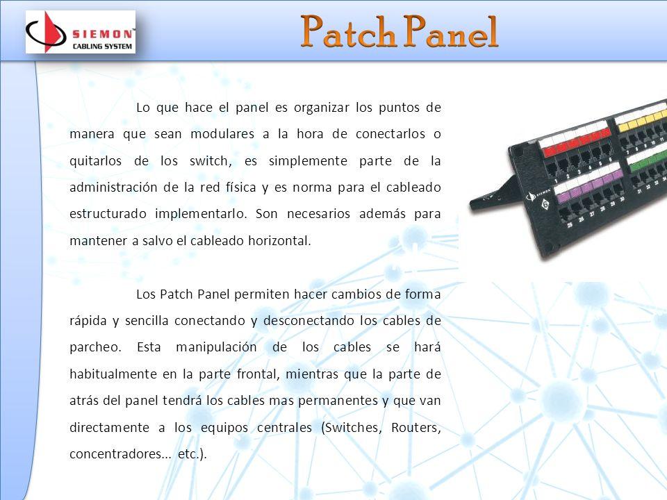 Lo que hace el panel es organizar los puntos de manera que sean modulares a la hora de conectarlos o quitarlos de los switch, es simplemente parte de la administración de la red física y es norma para el cableado estructurado implementarlo.