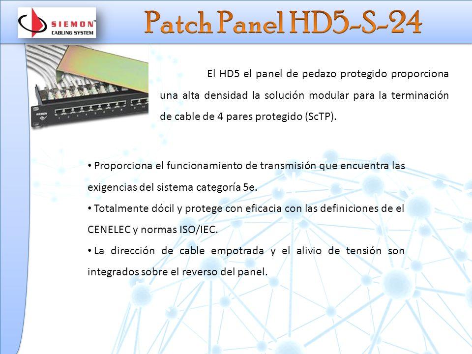 El HD5 el panel de pedazo protegido proporciona una alta densidad la solución modular para la terminación de cable de 4 pares protegido (ScTP).