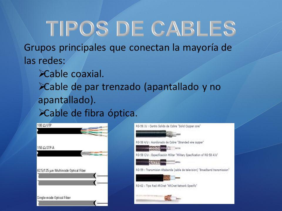 Grupos principales que conectan la mayoría de las redes: Cable coaxial. Cable de par trenzado (apantallado y no apantallado). Cable de fibra óptica.