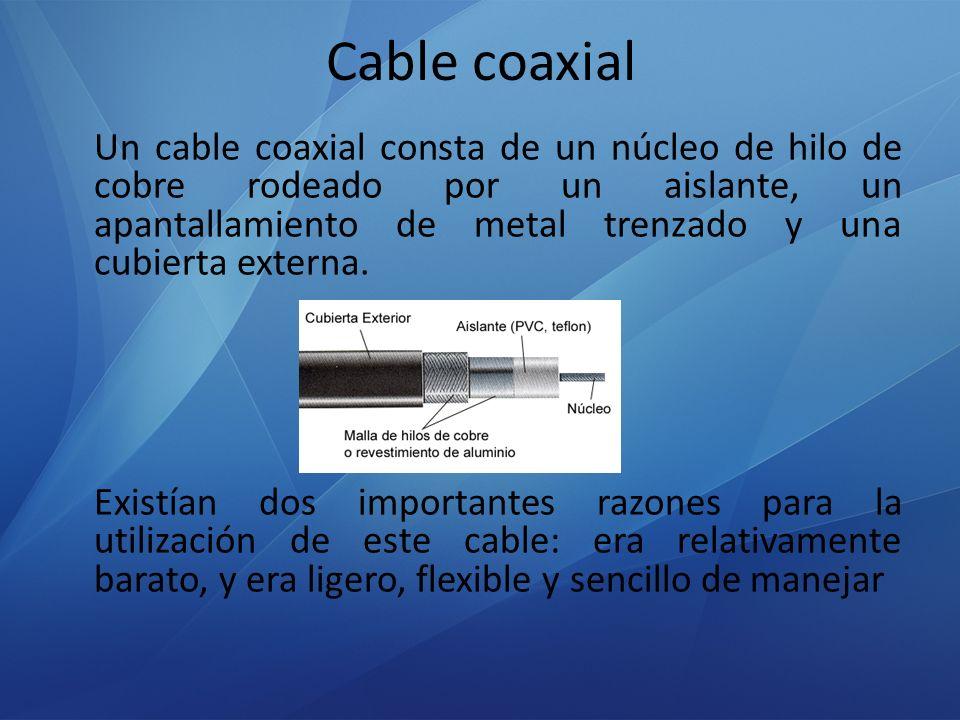 Tipos de cable coaxial – Cable Thinnet (Ethernet fino) El cable Thinnet es un cable coaxial flexible de unos 0,64 centímetros de grueso (0,25 pulgadas).