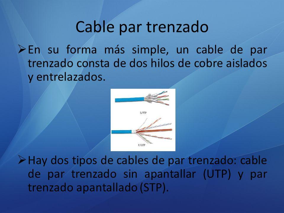 Cable par trenzado En su forma más simple, un cable de par trenzado consta de dos hilos de cobre aislados y entrelazados. Hay dos tipos de cables de p