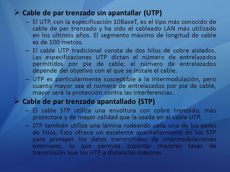 Cable de par trenzado sin apantallar (UTP) – El UTP, con la especificación 10BaseT, es el tipo más conocido de cable de par trenzado y ha sido el cabl